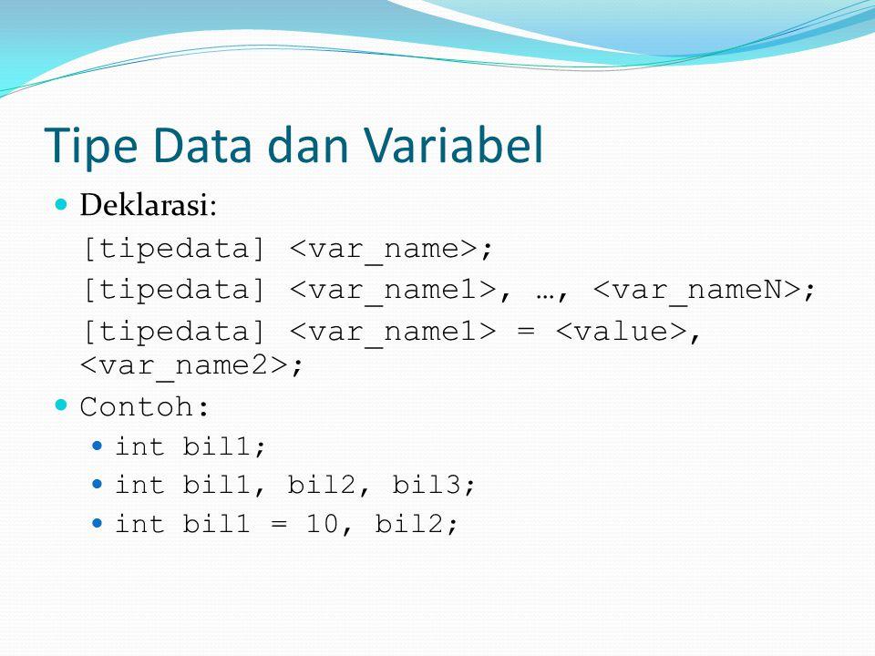 Tipe Data dan Variabel Deklarasi: [tipedata] <var_name>;